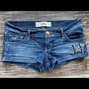 Hollister Blue Denim Logo Distressed Denim Shorts